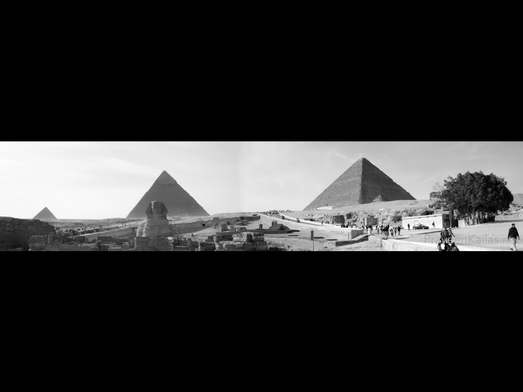 Praveen Kailas B&W Panoramic Photo of Pyramids