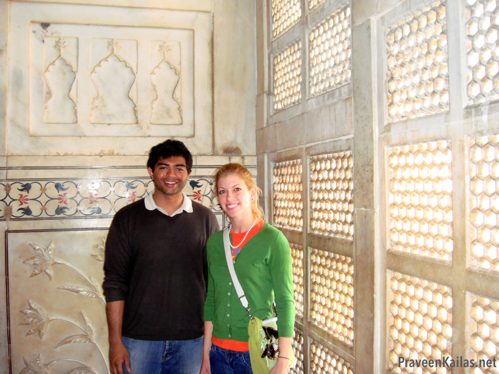 Praveen Kailas and Katie Kailas in Taj Mahal