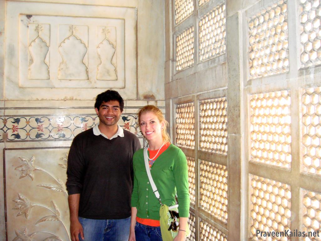 Praveen Kailas and Katie Kailas in Taj Mahal