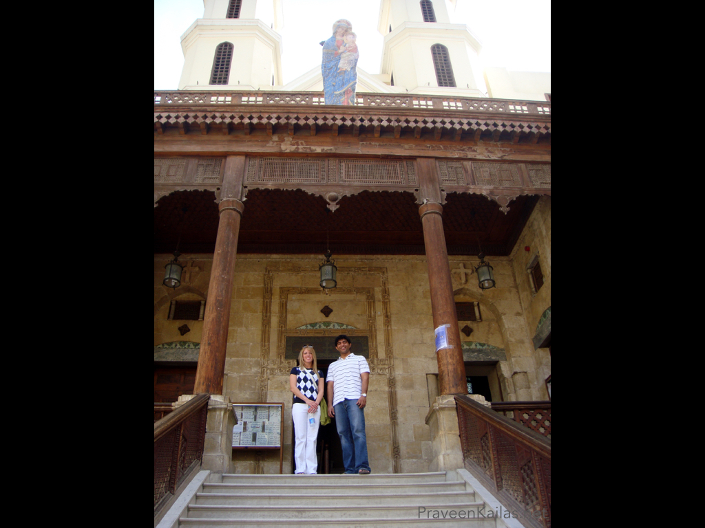 Praveen Kailas and Katie Kailas in front of Muhammed Ali Mosque